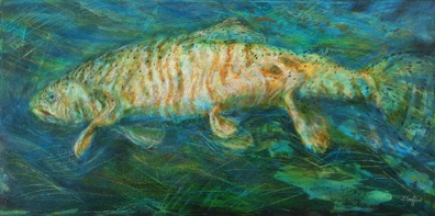 "Cutthroat at the Ceiling  Interpreted by Judy Trafford  36"" x 18"" acrylic on canvas"