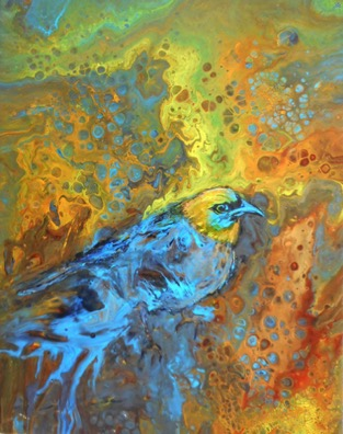 "Golden-hooded Tanager  Interpreted  by Judy Trafford 11"" x 14"" acrylic pour on canvas"