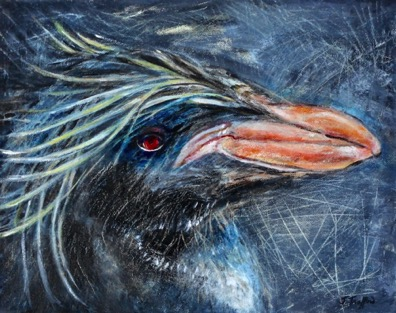 "Northern Rockhopper Penguin  Interpreted by Judy Trafford  11"" x 14"" acrylic on canvas"